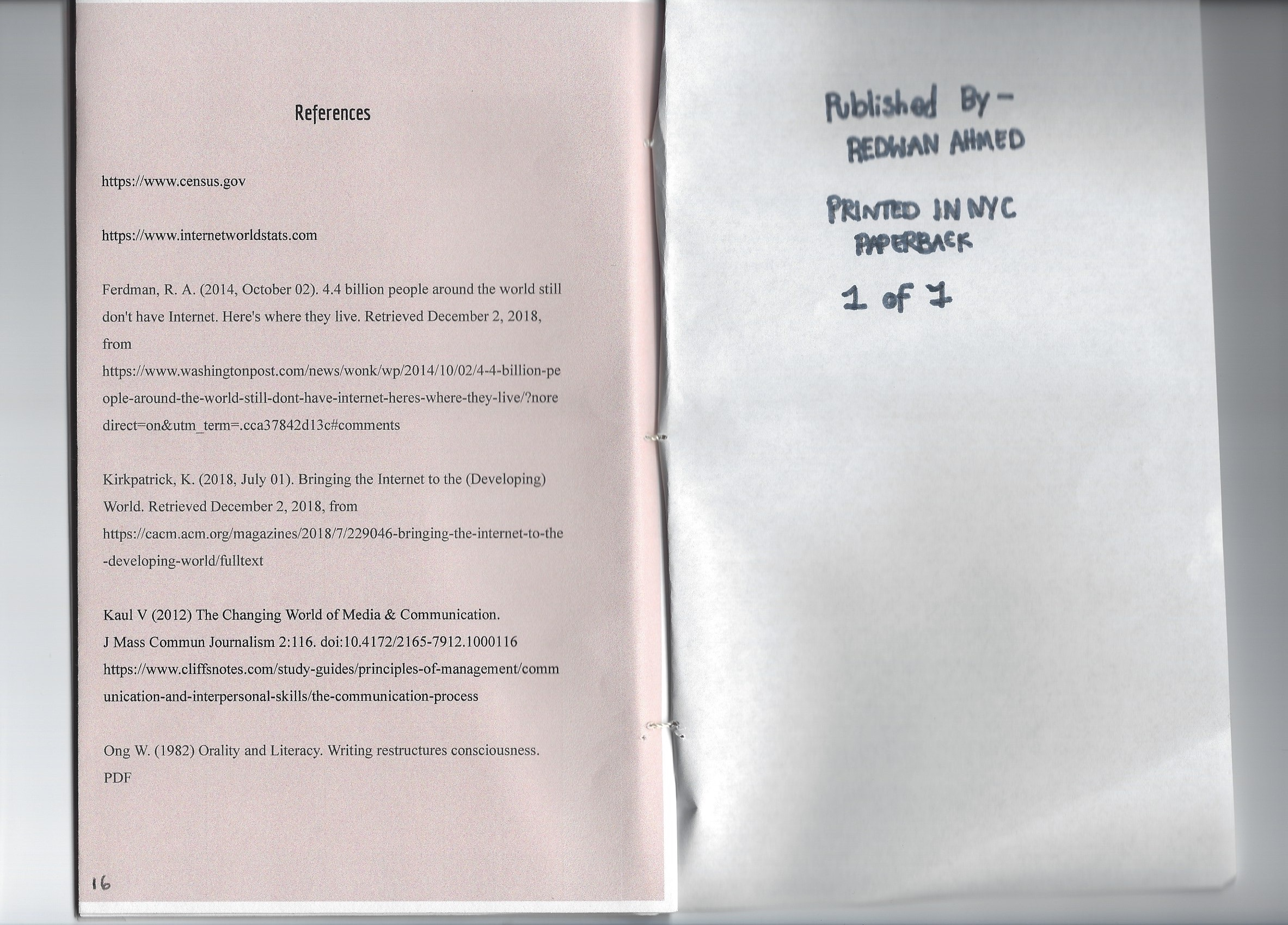 Page 16: Reference/Sources list. Page 17: Information regarding the publisher, print, and number of copies.