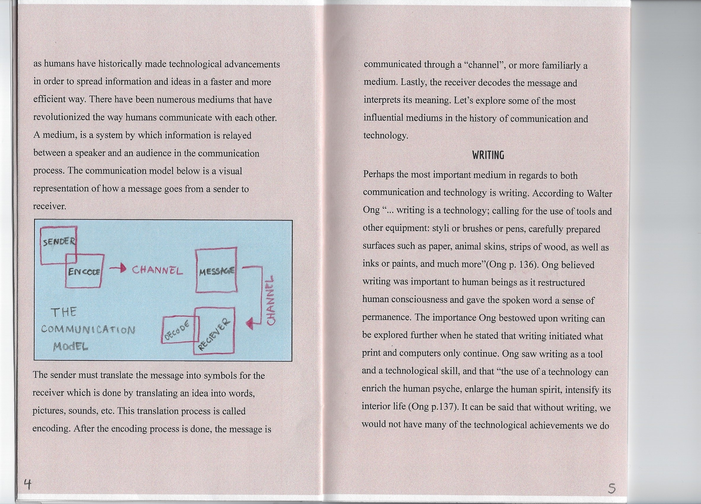Page 4: This page continues the concept of mediums and includes a diagram of the communication model. Page 5: A page introducing the topic of writing.