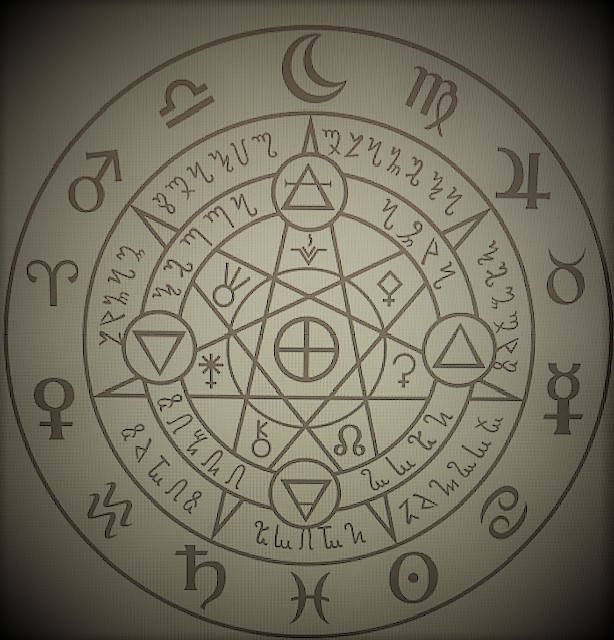 """12- A picture of which shows multiple alchemical symbols, which represents magic, """"A magic which revolves around the discovery, creation, and combination of symbols to create other types of magic"""""""