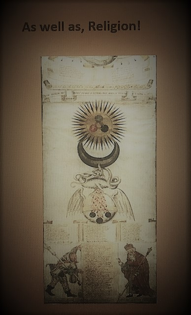 13- Lastly, some people, past and present, study alchemy as a religion. see a picture of two very old men holding up what appears to be ancient scrolls, under the sign of the sun and crescent moon