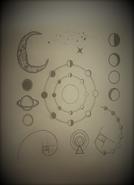 9- A picture of moons, suns, and stars