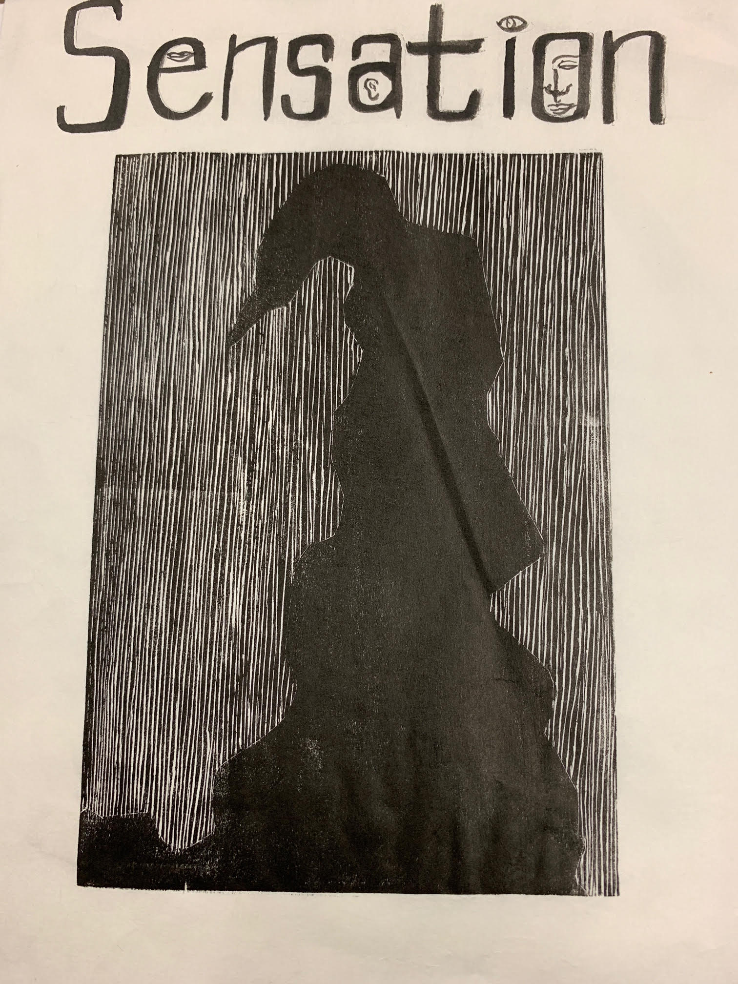 Page 1. Caption: Cover page of the chapbook is a black ink woodcut relief print on Japanese silk paper, titled 'Sensation.' It is binded by string using the poke and stitch method on Bristol paper.