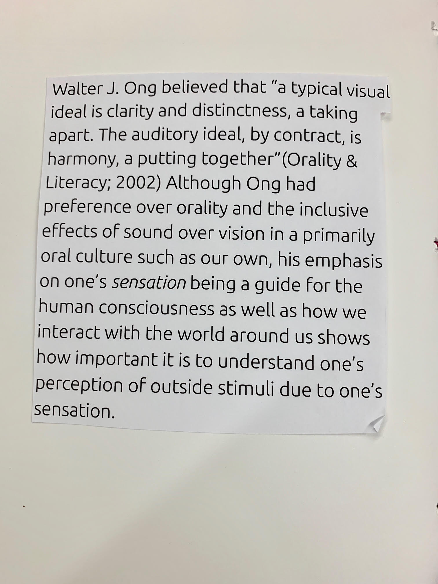 """Page 12. Caption: This page touches upon Ong's discussion of one's sensation and which he personally deemed the most critical; orality. Ong believed that """"a typical visual ideal is clarity and distinctness, a taking apart.""""(2002) Although Ong supported the inclusivity of oral culture, the prints in this chapbook are meant to remain ambiguous so as not to induce the ideal of clarity and distinctiveness. To leave it entirely up to the viewer means that there is room for one's personal outside stimuli and experiences to provide the meaning."""