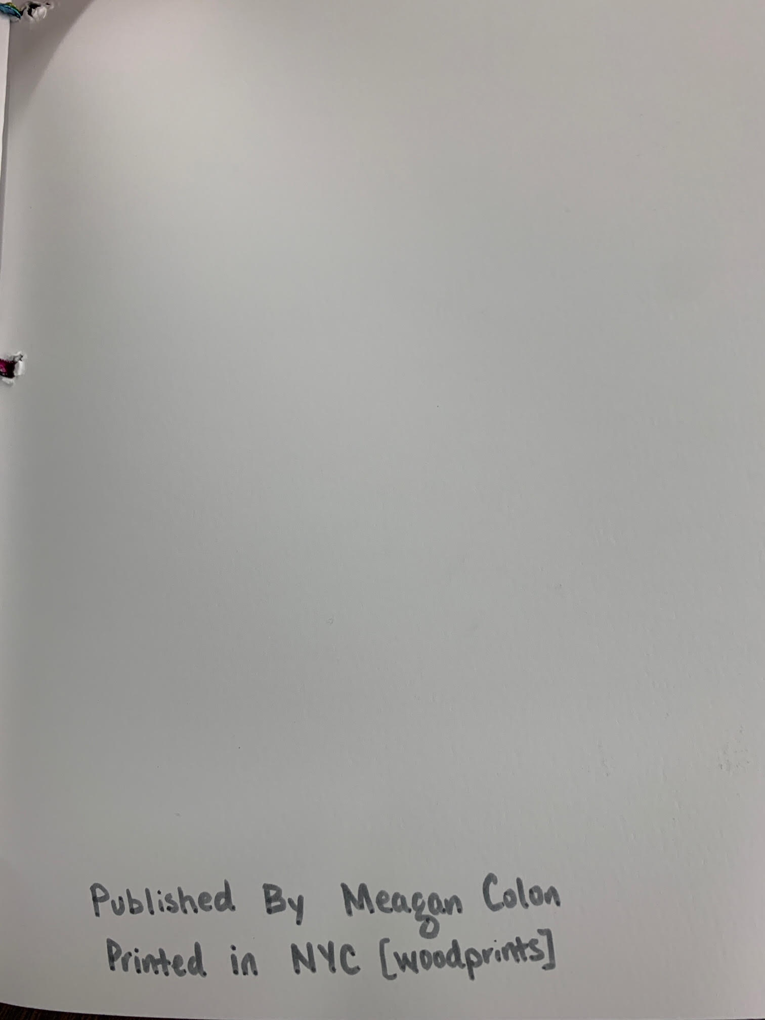 Page 15. Caption: back cover page of chapbook. Chapbook published by Meagan Colon, printed in NYC, Brooklyn, copy 1 of 1