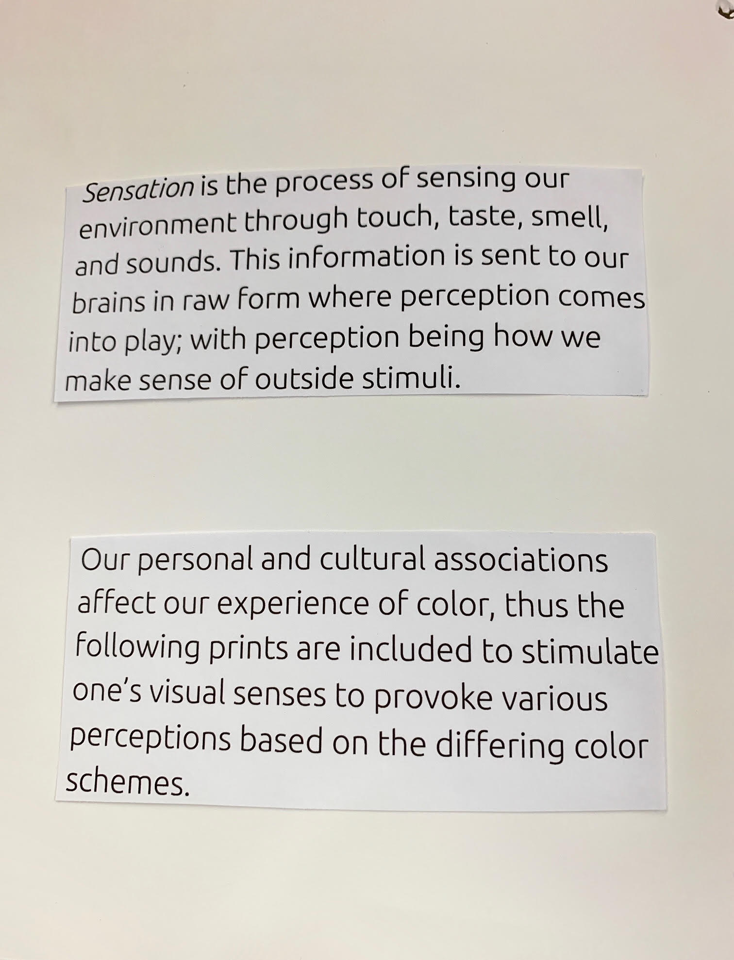 Page 2. Caption: Description of factors that influence our sensation such as our experiences in life, cultural backgrounds, and how we interact with outside stimuli with our senses. These all affect our perception. The purpose of this chapbook is to provoke various reactions from the viewer through differing color schemes throughout the same print subject.
