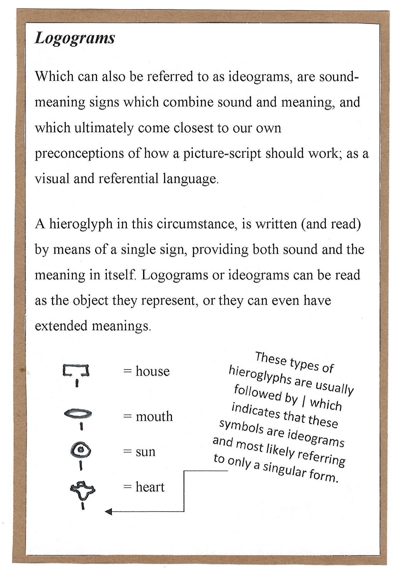 Page 2. Logograms, or ideograms and the ways in which pictures in the language can symbolize what they are a picture of.