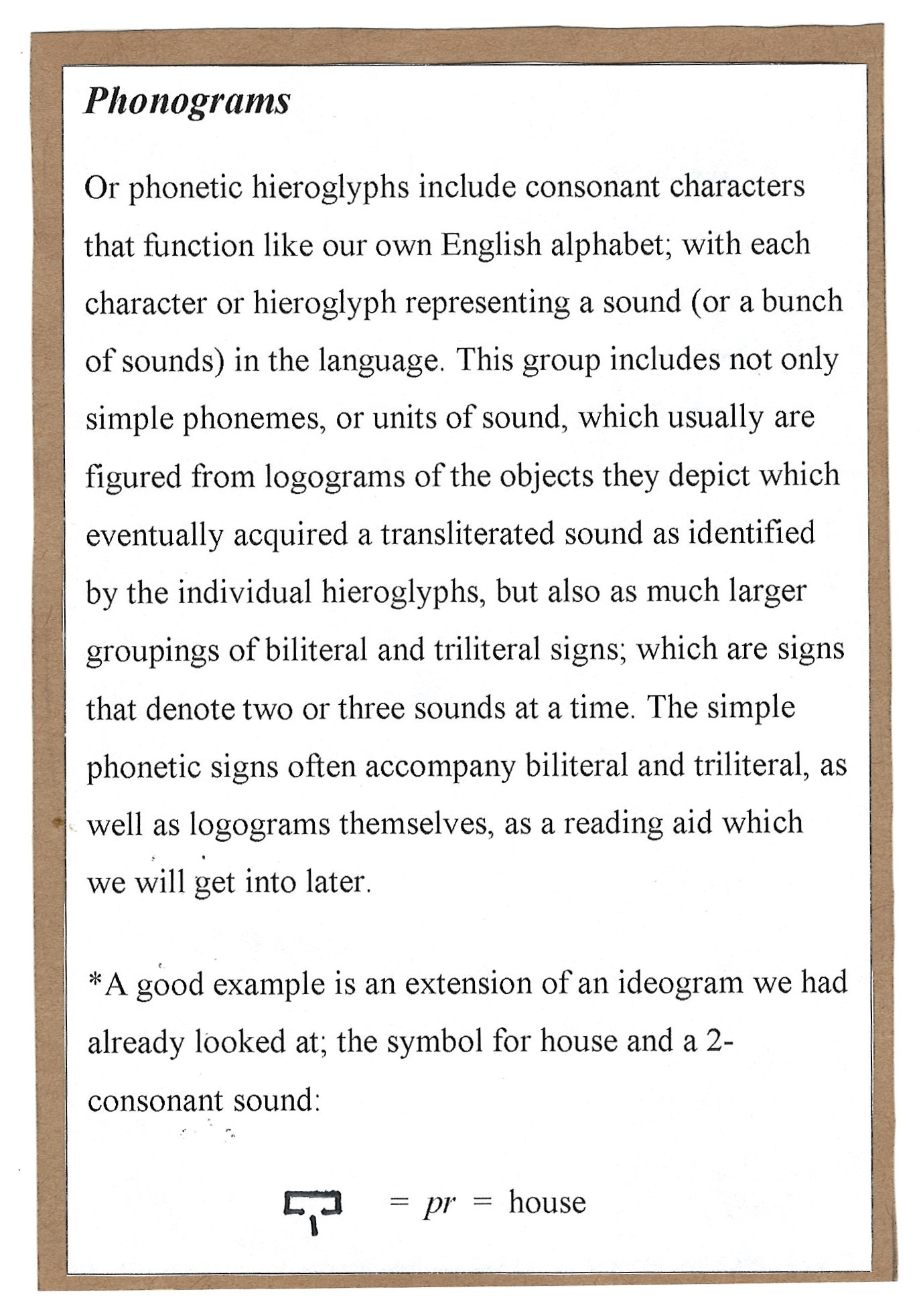 Page3. Phonograms, or the way Egyptian Hieroglyphics incorporate a phonetic sound structure to add more to their supremely visual alphabet.