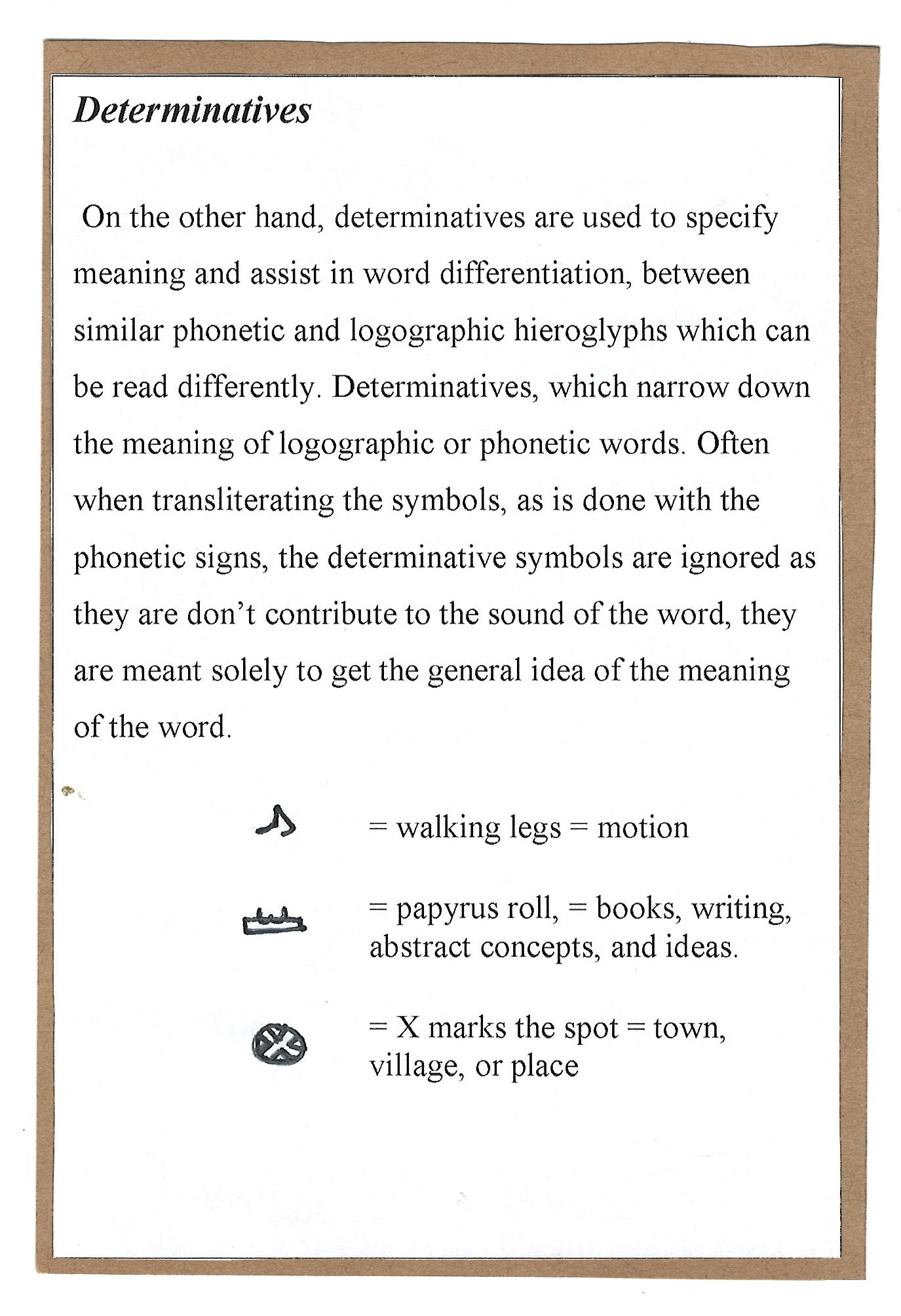 Page 4. Determinatives, and the way these signs allow for the readability of this vastly symbolic language.