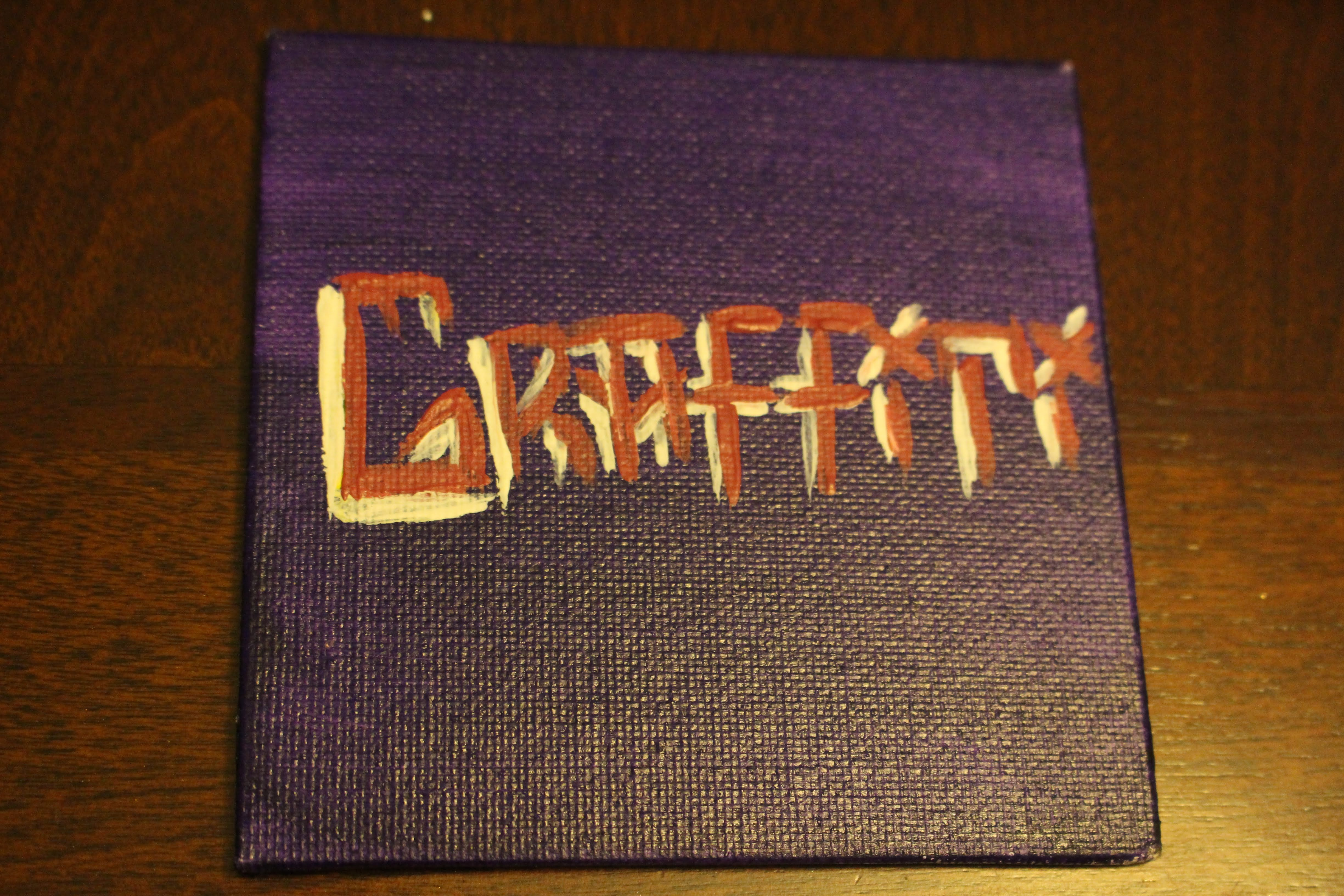 "This is a painting of the word 'Graffiti' on a mini canvas. This word represents one of the 'four elements of hip hop""."