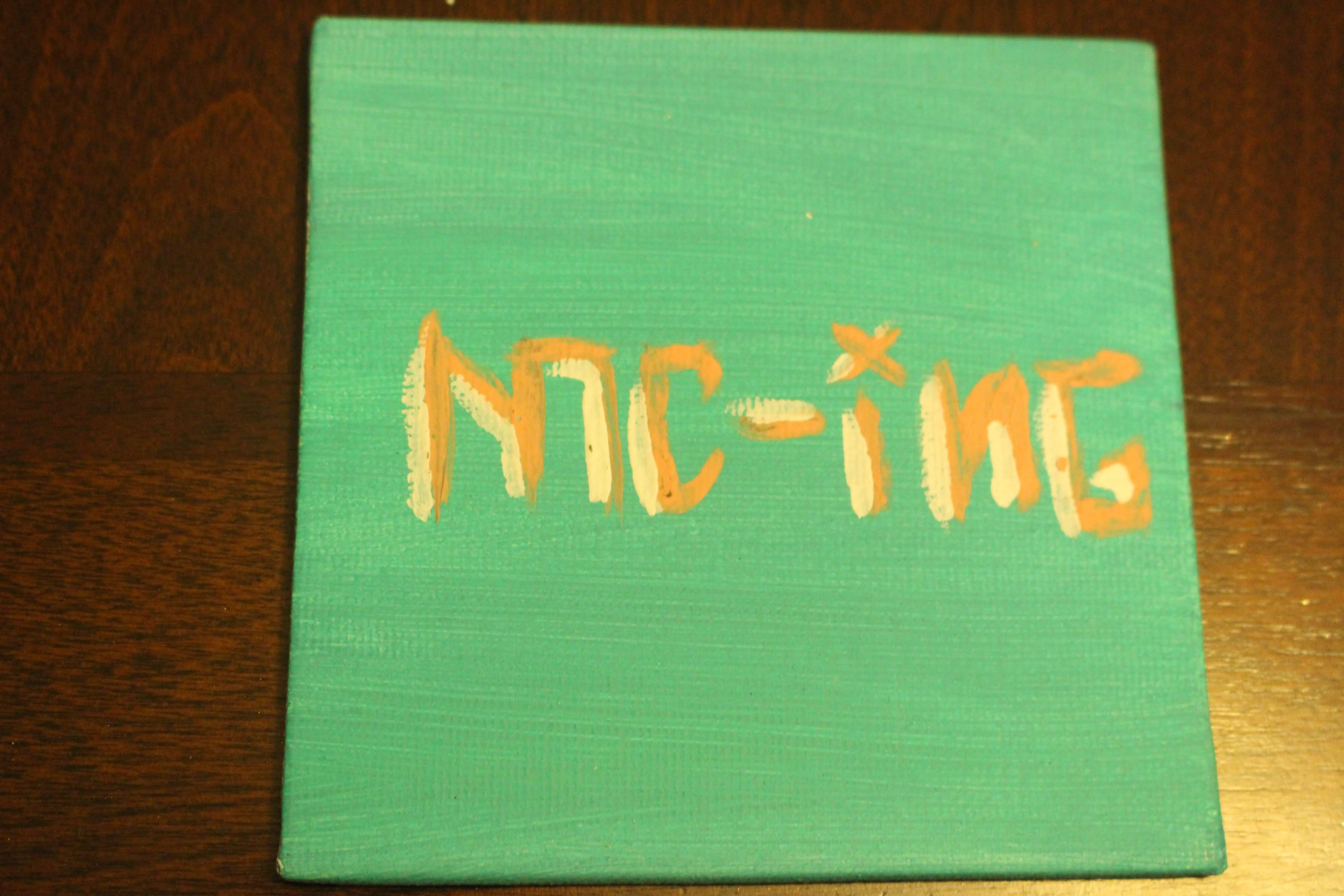 "This is a painting of the word 'mc-ing' on a mini canvas. This word represents one of the 'four elements of hip hop""."