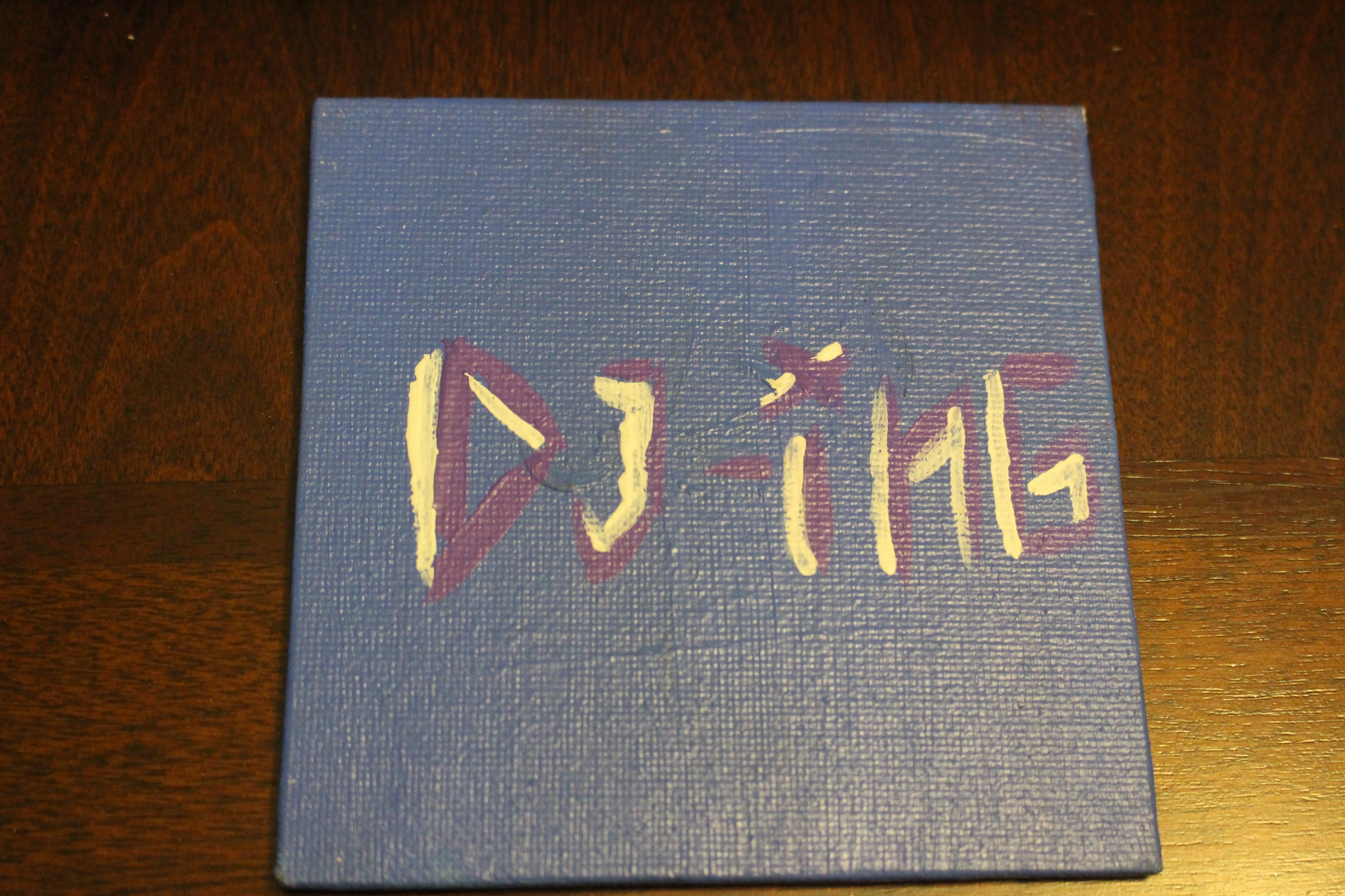 "This is a painting of the word 'dj-ing' on a mini canvas. This word represents one of the 'four elements of hip hop""."