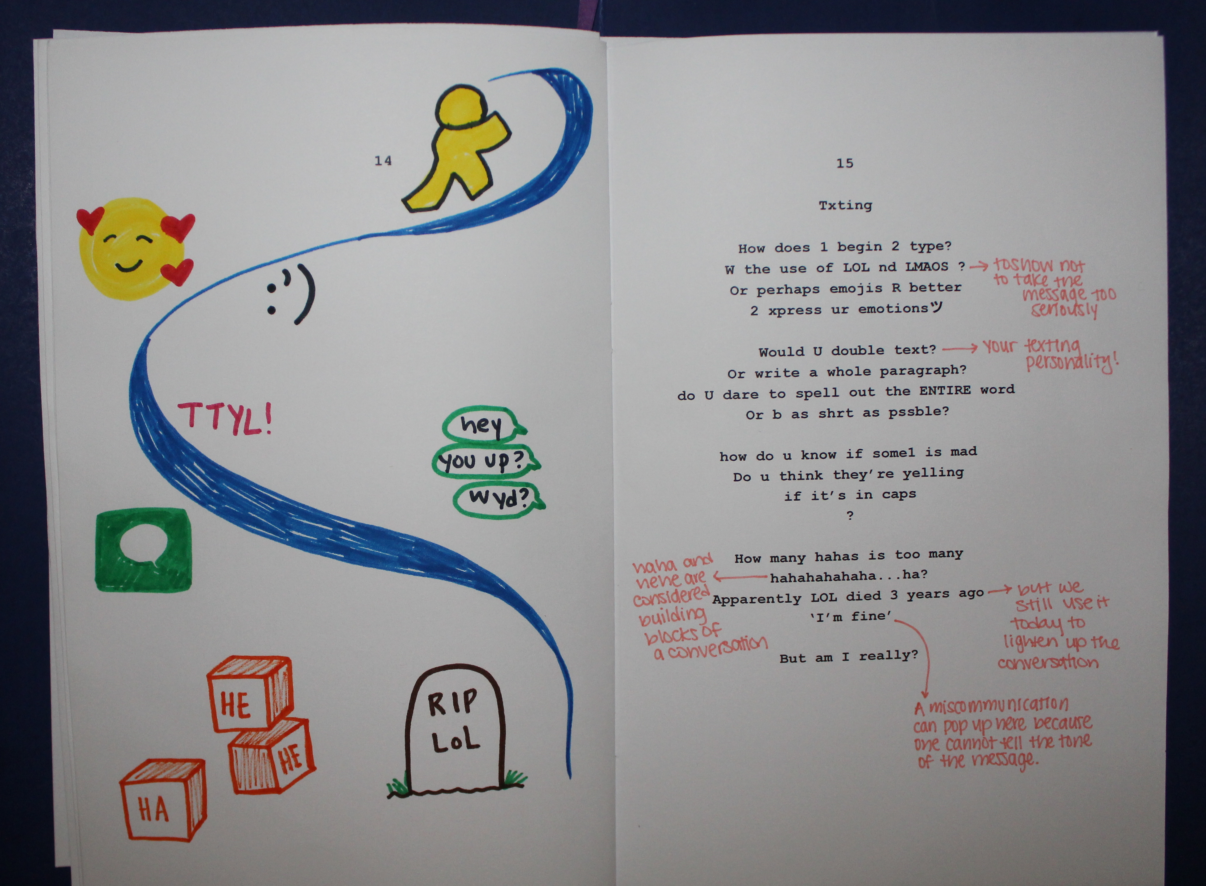 Page9: Original poem about text messaging behaviors accompanied by an illustration