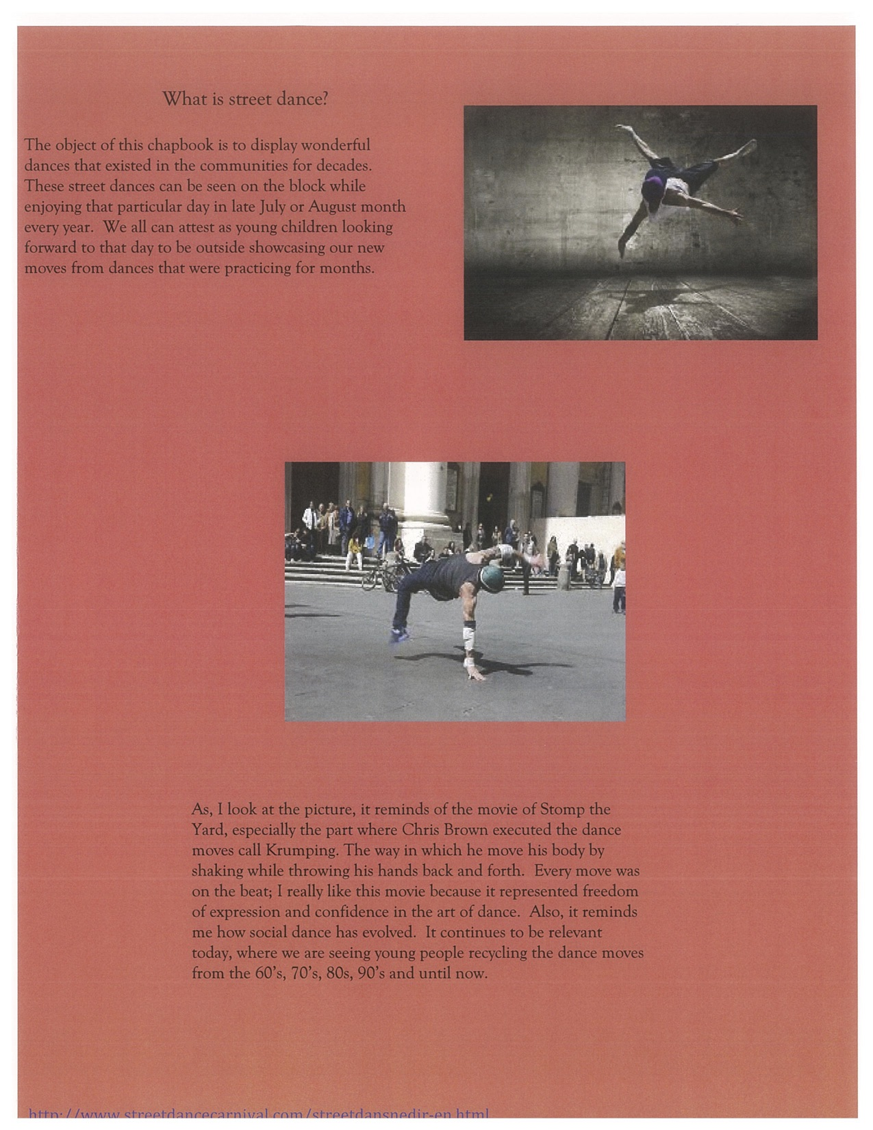 Page 1. displays some History of Street Dance.
