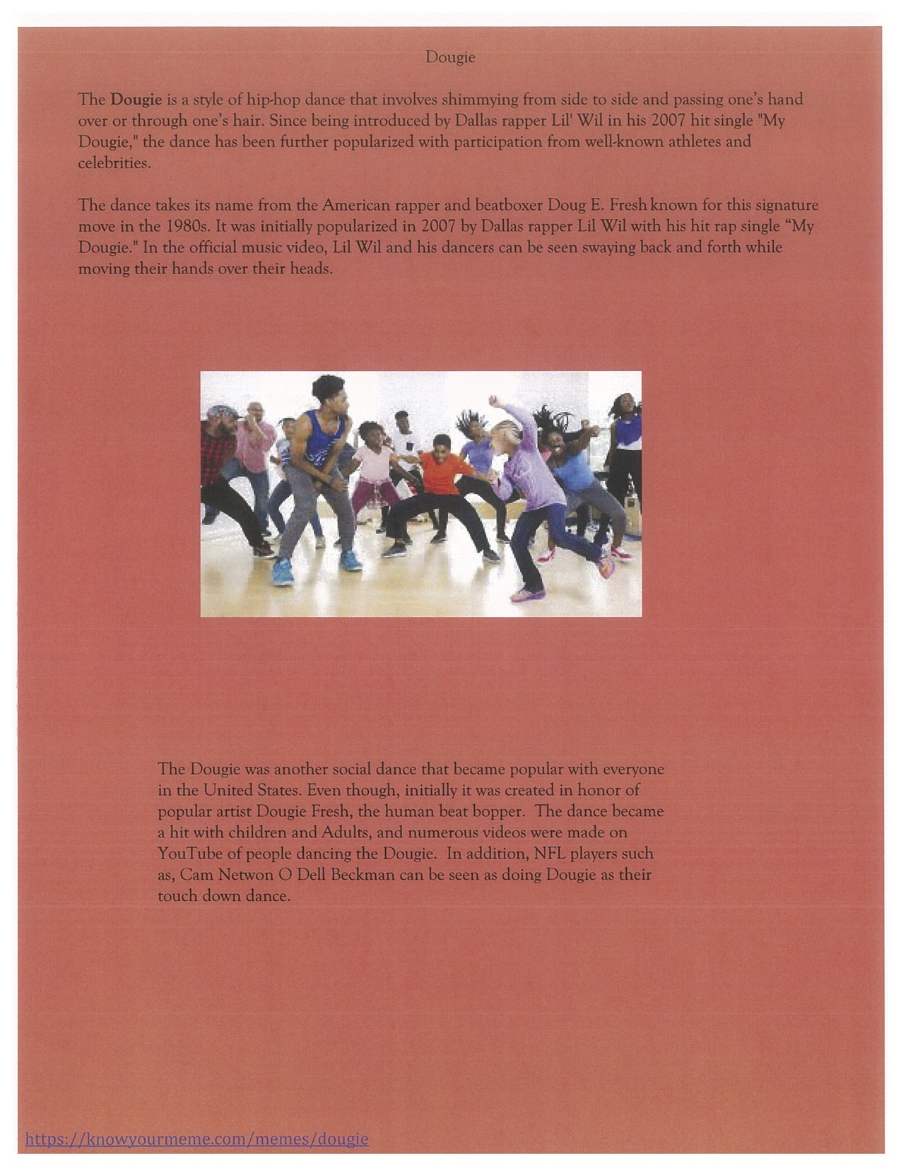 Page 14. The Dougie dance steps and a story about the dance.