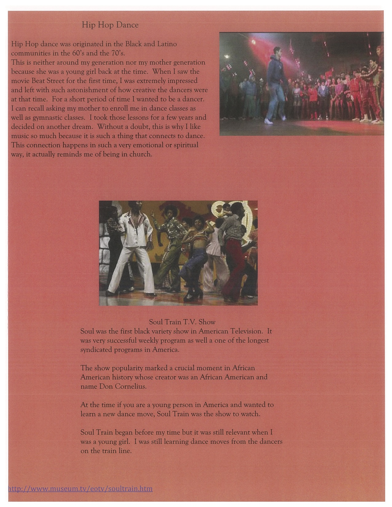 Page 2. shows some details of Hip Hop Dance on some T.V Shows.