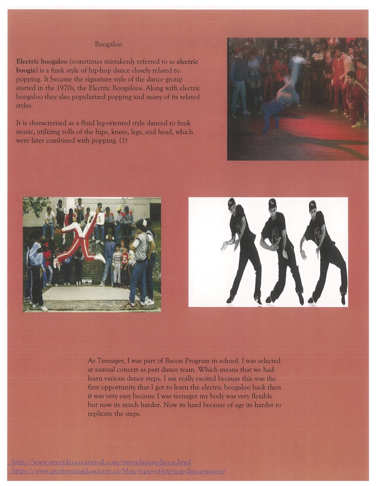 Page 3. The Boogaloo and some images of the dancers.
