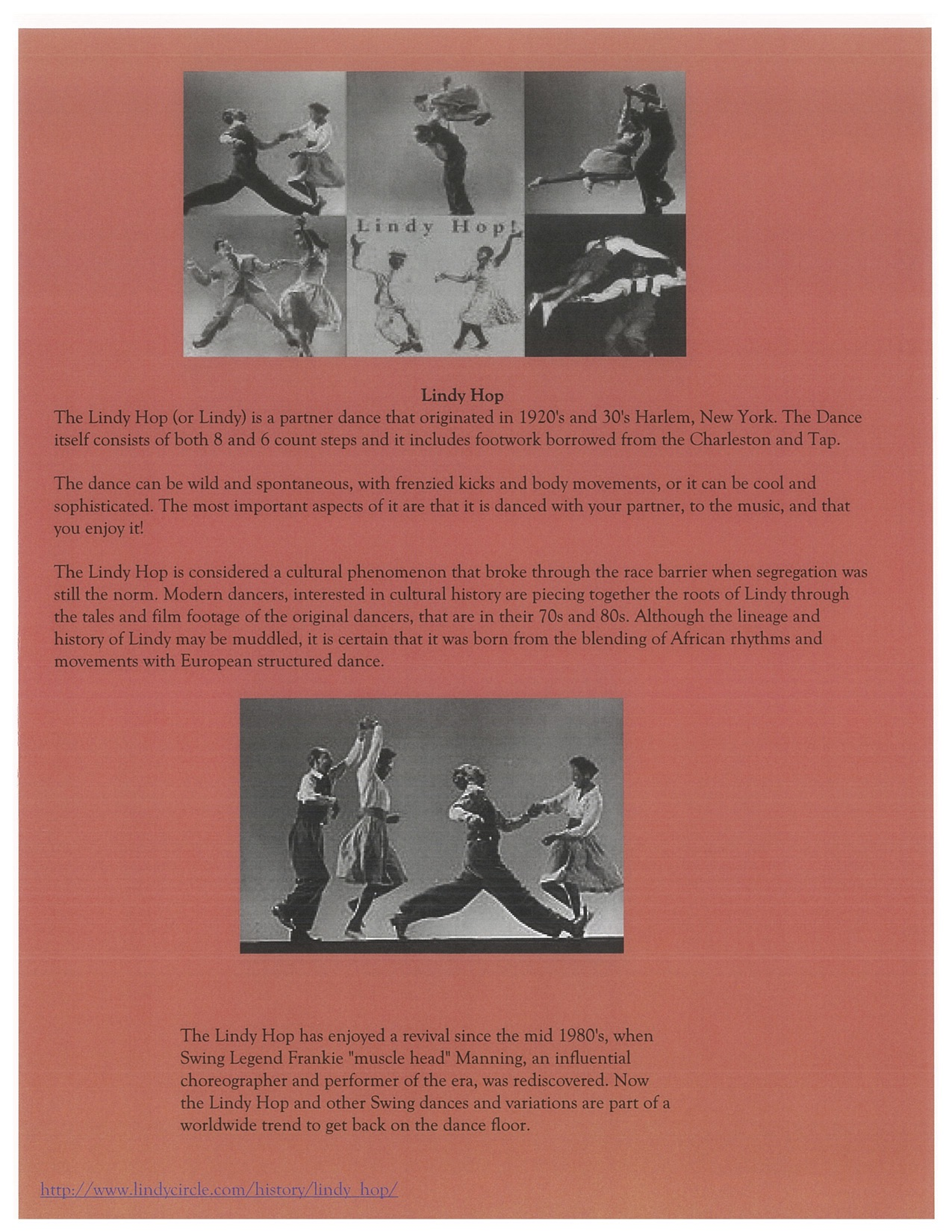 Page 6. The Lindy Hop with two images of people dancing.