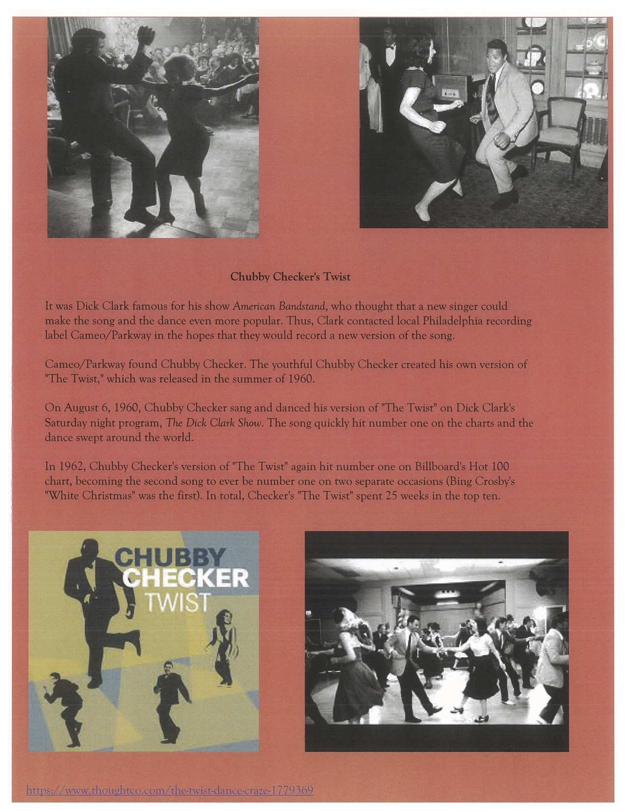 Page 7. The Chubby Checker dance with the performer dancing.