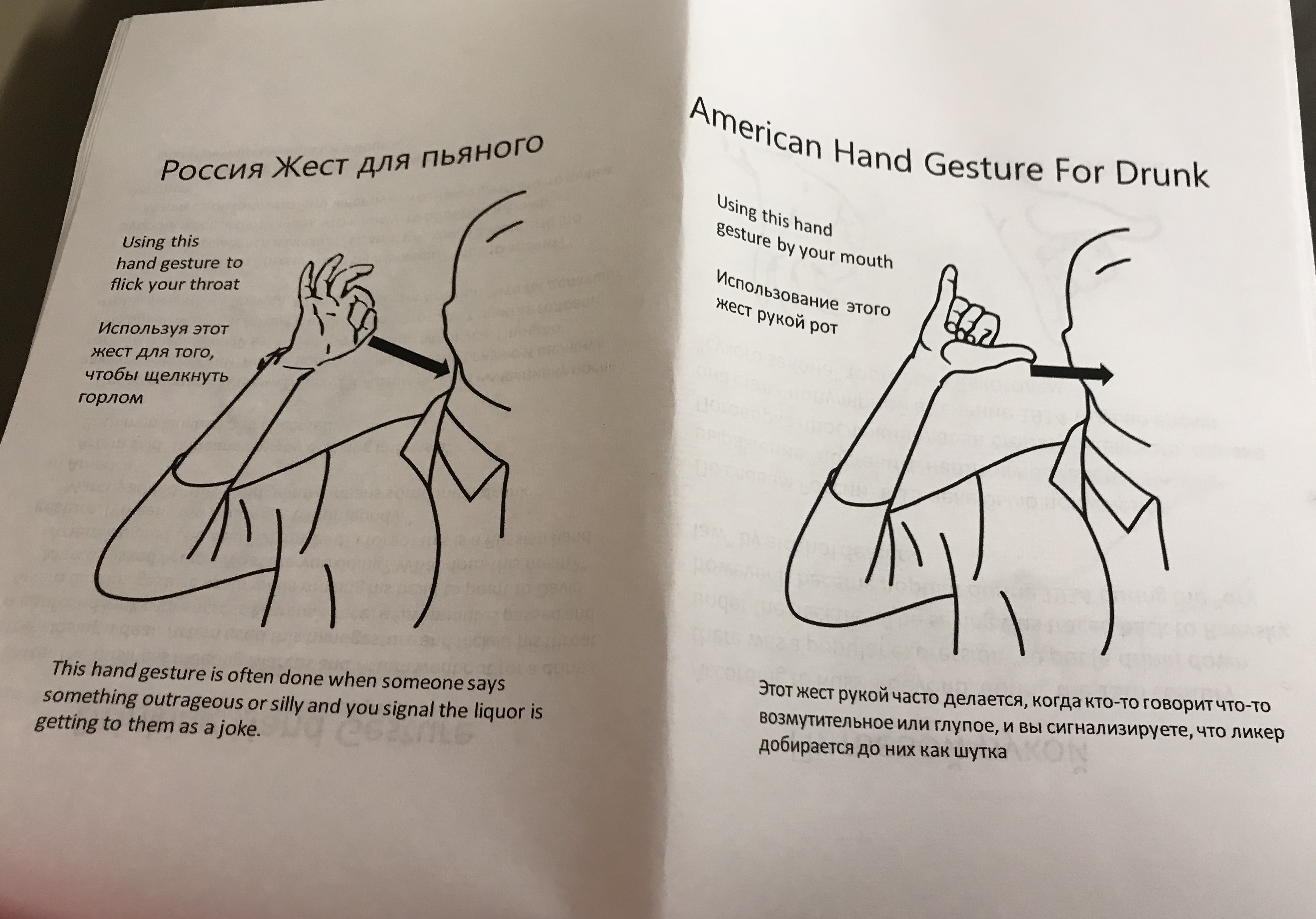 20. Russian hand gesture for drinking 21. American hand gesture for drinking