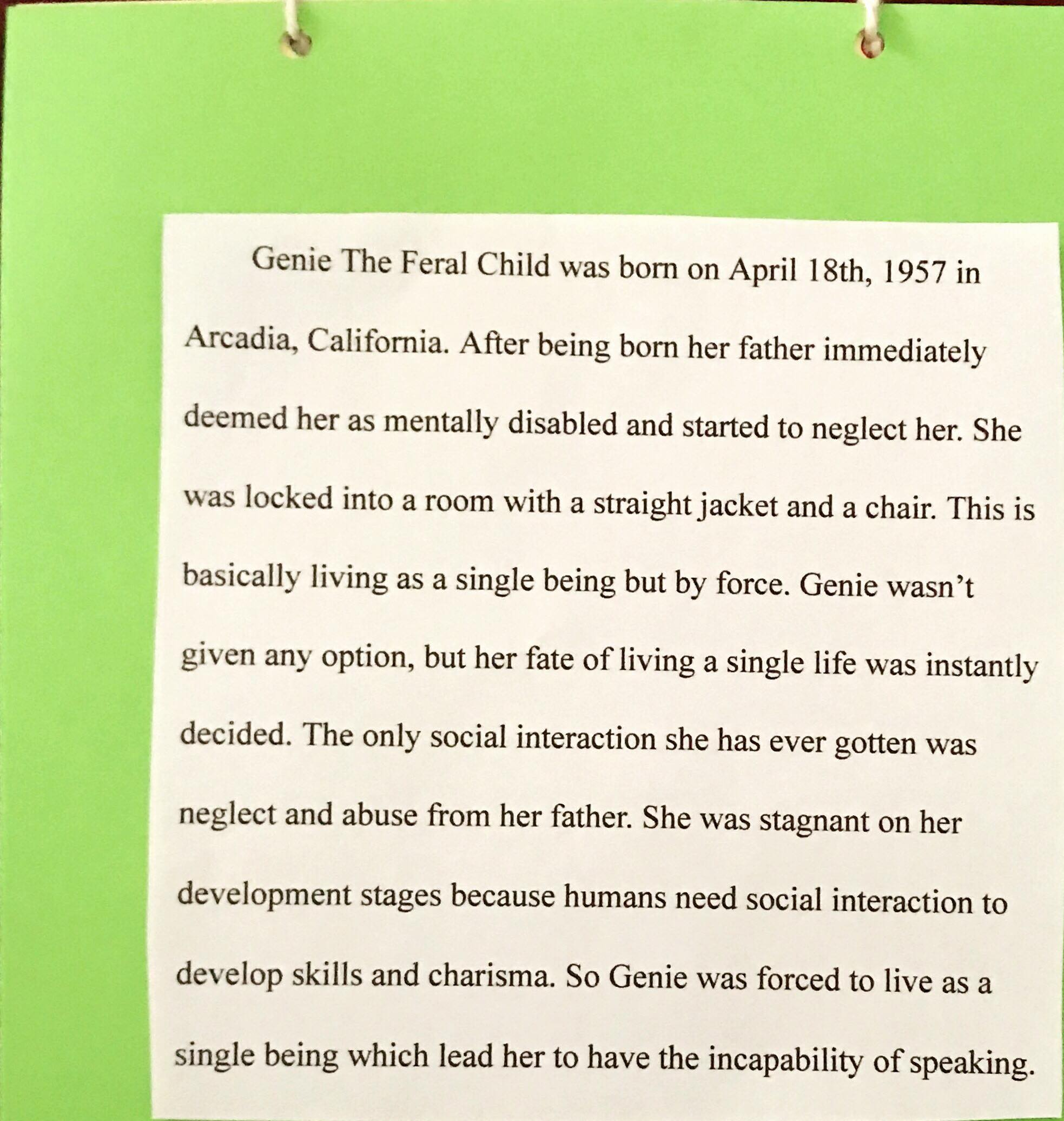Page 11: Briefly talk about Genie the Feral Child